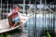 在Inle湖,缅甸的生活。 库存照片