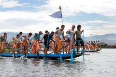 在Inle湖,缅甸的生活。 免版税库存图片