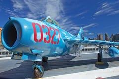在Interpid博物馆的俄国航空器MIG-17 库存照片