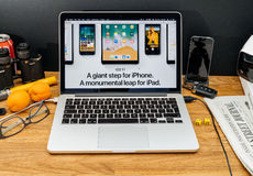 在iOS 11的WWDC最新的公告的苹果电脑iPad的 免版税库存图片