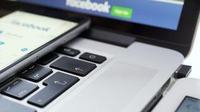 在iPad、iPhone和Macbook小配件的Facebook应用 影视素材