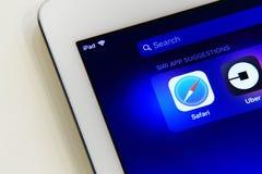 在iPad屏幕上的捷径菜单 图库摄影