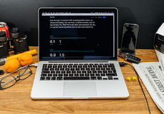 在ipad赞成dimensi的WWDC最新的公告的苹果电脑 库存图片