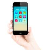 在iPhone 5s屏幕上的健康和健身应用 库存图片
