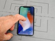 在iPhone x的设定10个app应用软件开锁,猛击, 免版税图库摄影