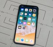 在iPhone x的设定10个app应用软件开锁 库存照片