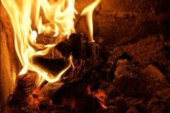 在ironstove的火 免版税图库摄影