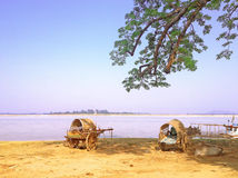 在Irrawaddy河旁边的黄牛推车 免版税库存图片