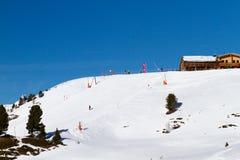 在Ischgl的滑雪倾斜 库存照片