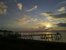 在Isla奥梅特佩岛& x28的日落; Ometep Island& x29; 尼加拉瓜 免版税库存照片