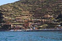 在Isla del Sol的Yumani在的喀喀湖,玻利维亚 免版税库存图片