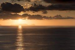 在Isla Desertas马德拉岛的日出 免版税图库摄影