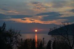 在Islands王子的日落在伊斯坦布尔 免版税库存照片