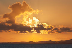 在Islay的日落从Islay轮渡 免版税库存图片