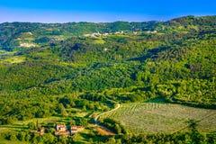 在Istria地区,克罗地亚的鸟瞰图 图库摄影