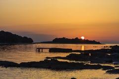 在Istrie的日落 免版税库存照片