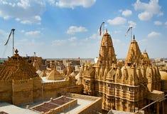 在Jaisalmer堡垒,拉贾斯坦,印度的寺庙 免版税库存图片