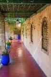 在Jardin Majorelle的荫径在马拉喀什 免版税库存照片