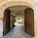在Jaunpils城堡,拉脱维亚的木门 免版税库存照片