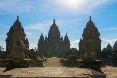 在Java,印度尼西亚的入口Candi Sewu佛教复杂 免版税图库摄影