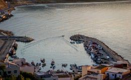 在Jebha港口的小船 免版税库存照片