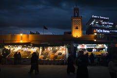 在Jeema el Fna,马拉喀什,摩洛哥的街道视图 库存照片