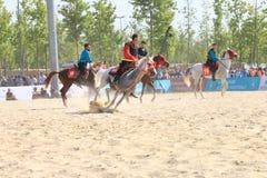 在Jereed比赛的行动-土耳其语Cirit Sporu 免版税图库摄影