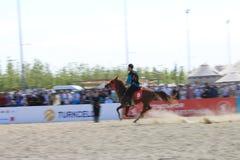 在Jereed比赛的行动-土耳其语Cirit Sporu 库存图片