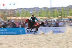 在Jereed比赛的行动-土耳其语Cirit Sporu 图库摄影