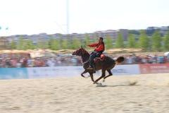 在Jereed比赛的行动-土耳其语Cirit Sporu 免版税库存图片