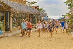 在Jericoacoara巴西的拥挤沙子街道 库存照片
