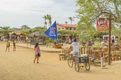 在Jericoacoara巴西的沙子街道 库存照片