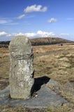 在Jeseniky山的老界限石头 免版税图库摄影