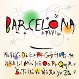 在Joan Miro的样式西班牙艺术家的字母表 图库摄影