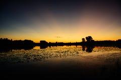 在Johnny湖的日落 免版税图库摄影