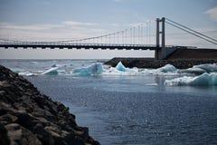 在Jokulsarlon的桥梁 免版税库存图片
