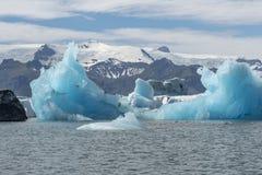 在Jokulsarlon的绿松石冰 库存图片
