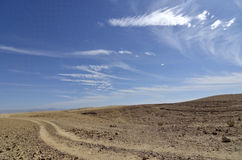 Judea沙漠遥远的足迹。 免版税库存图片