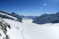 在Jungfrau,瑞士的冰川 免版税库存照片