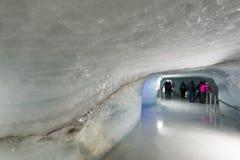 在Jungfraujoch的冰隧道 库存照片