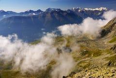 在Jungfraujoch,欧洲Sw上面的高山阿尔卑斯山风景  库存图片