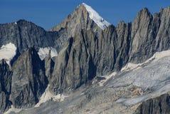 在Jungfraujoch,欧洲Sw上面的高山阿尔卑斯山风景  免版税图库摄影