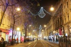 在Jurisiceva街道的圣诞节装饰 免版税库存图片