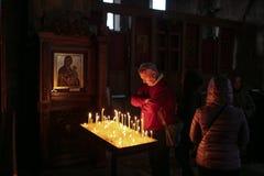 在Jvari修道院里面在乔治亚 免版税库存图片