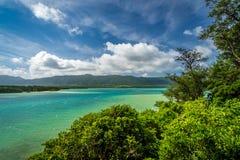 在Kabira冲绳岛石垣岛的` s盐水湖的绿色水  库存照片