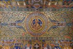 在Kaiser威谦廉纪念品教会天花板的马赛克  库存照片