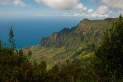 在Kalalau的Na梵语海岸线俯视,考艾岛,夏威夷 库存照片