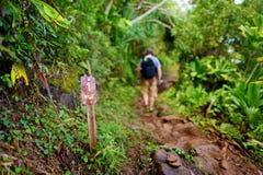 在Kalalau足迹的一个英里标志在考艾岛 免版税库存图片
