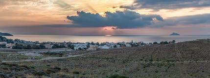 在Kalamaki海滩的日落 图库摄影