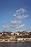 在Kalemegdan堡垒的天空在贝尔格莱德,塞尔维亚 库存图片